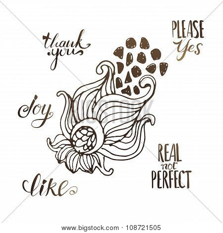 Cute doddle flower illustration with text message
