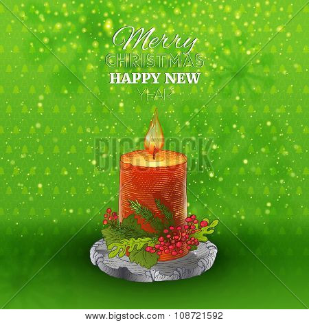 Green holidays background with Candle