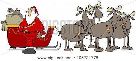 Santa and his moose team