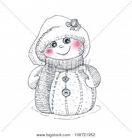 Snowman  linear illustration