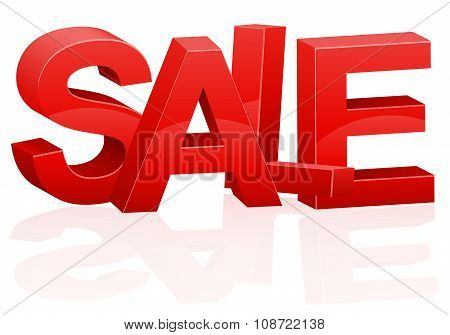 Three-dimensional Volumetric Red Inscription Sale Vector Illustration