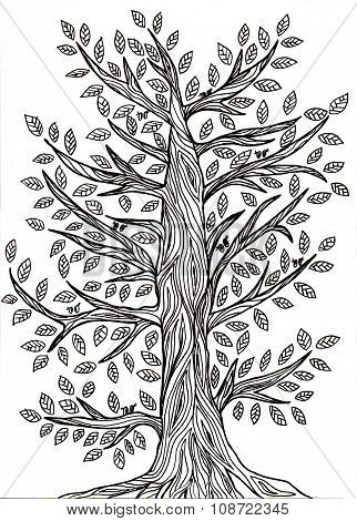 Handmade Graphic Drawing Of A Tree With Leaves