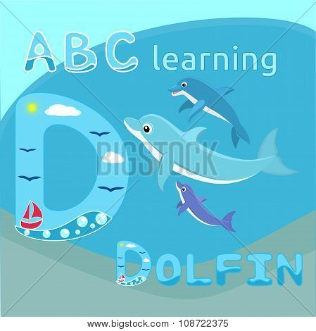 Baby dolphins with mother Dolphin family Cute cartoon dolphin vector illustration Sea mammal vector