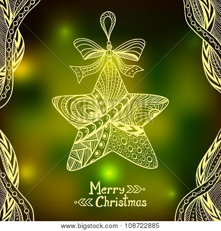BlurChristmas Star in Zen-doodle style  on blur background in  green