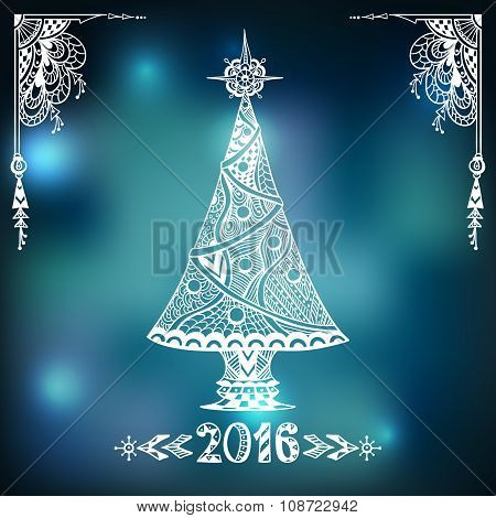 Christmas Tree in Zen-doodle style  on blur background in blue