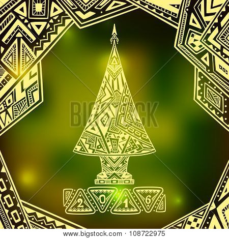 Christmas Tree in Zen-doodle style  on blur background in  green