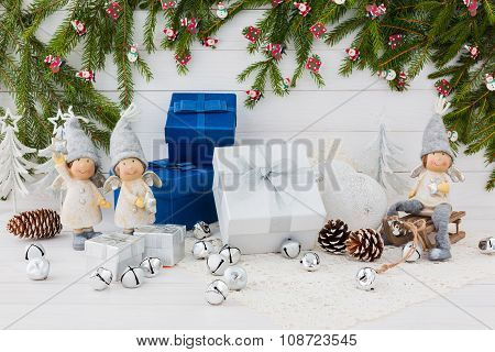 Christmas Composition With Blue And White Gift Boxes