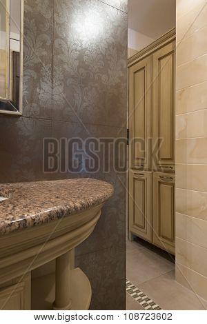 Bathroom Interior - Wooden Closet