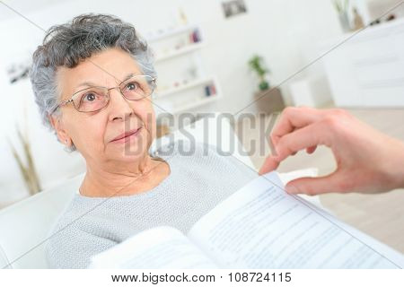 Reading to an old lady