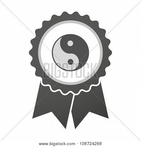 Vector Badge Icon With A Ying Yang