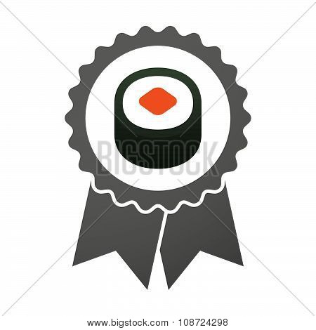 Vector Badge Icon With A Piece Of Sushi Maki