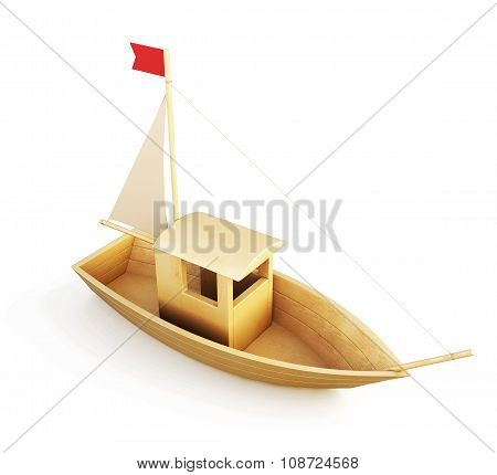 Wooden Boat Model Isolated Over A White Background. 3D.