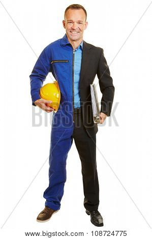 Isolated smiling man half in work clothing of construction worker and manager