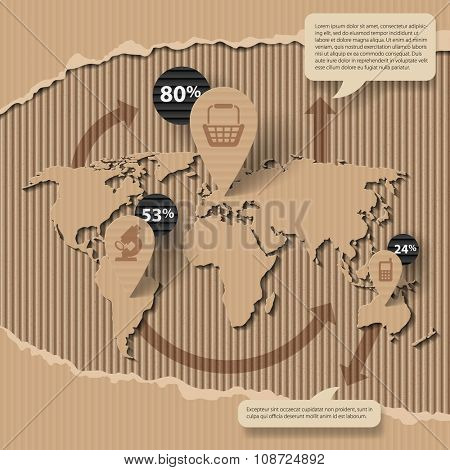Corrugated cardboard business template with world map and icons. Web page design