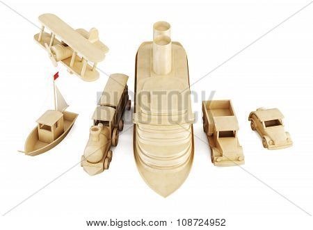 Different Modes Of Transport Isolated On White Background.