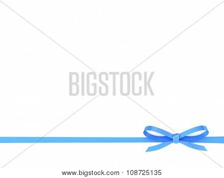 Blue Ribbon With A Bow On A White Background.