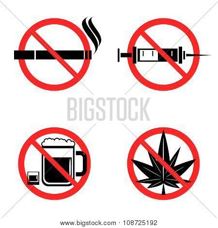 No Drugs Icons Set