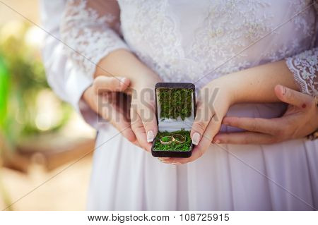 Wedding rings at bride's hands