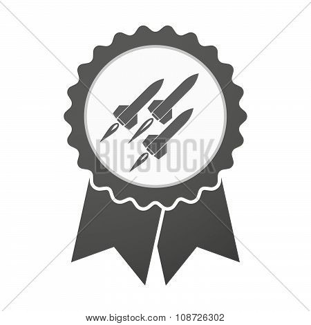Vector Badge Icon With Missiles