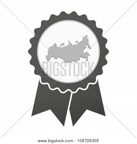 Vector Badge Icon With  A Map Of Russia