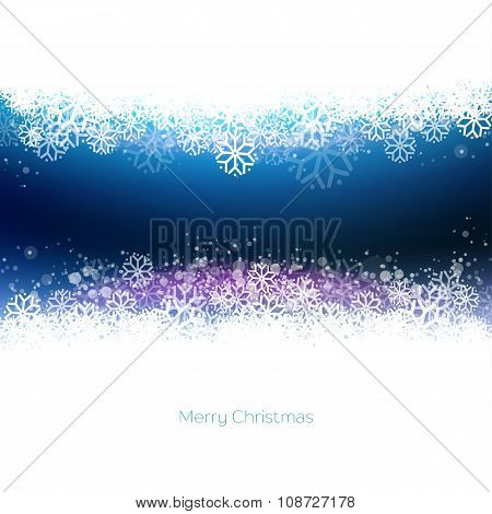 Modern Blue Merry Christmas Background With Snowflakes