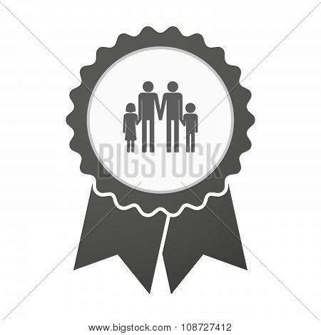 Vector Badge Icon With A Gay Parents  Family Pictogram