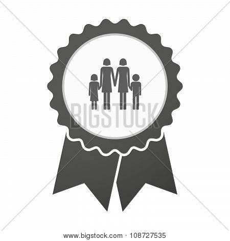 Vector Badge Icon With A Lesbian Parents Family Pictogram