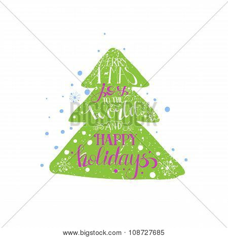 Bright Hand Drawn Grunge Style Christmas Tree