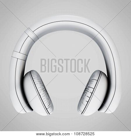Headphones Front View Icon. 3D.