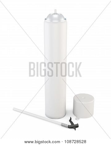 White Tube Has Foam On A White Background. 3D.