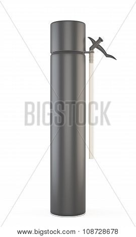 Black Closed Construction Foam Tube Isolated On White Background. 3D.