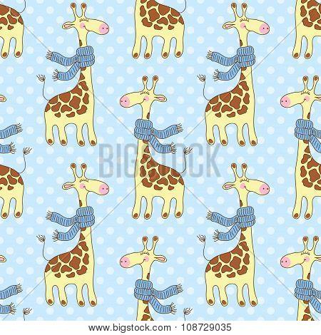 Seamless giraffes pattern