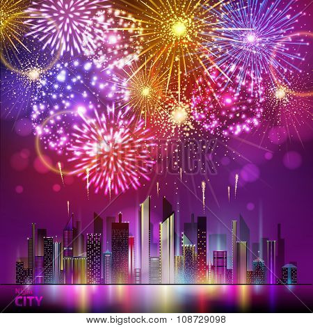 Vector Holiday Firework And Nignt City