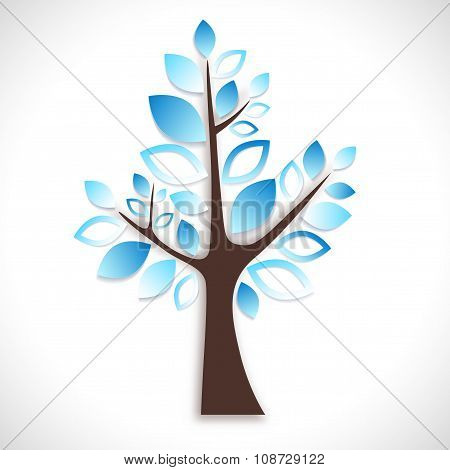 Abstract Tree On White Background - Winter Version