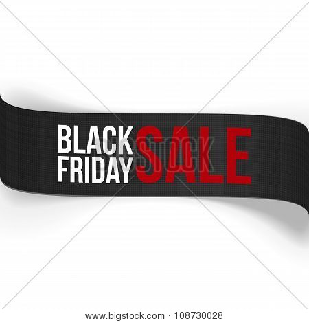Black Friday Sale curved vector Ribbon