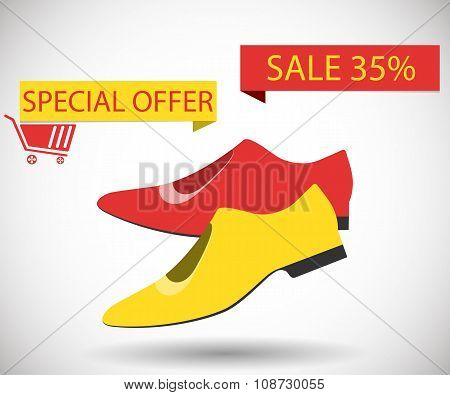 Sale Shoes. Discount Of 35 Percent. Special Offer.