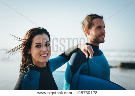 Happy Healthy Bodyboard Couple