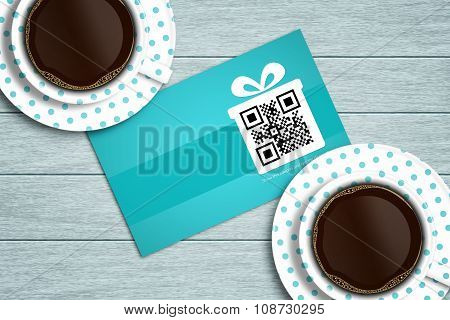 Discount Coupon Lying On Wooden Desk With Coffee