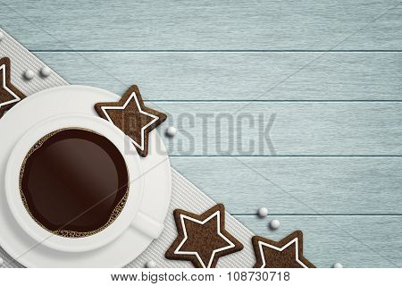 Coffee With Christmas Gingerbread Lying On Wooden Table