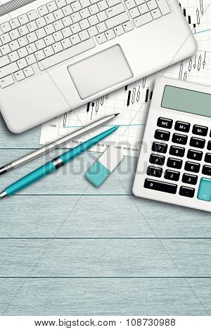 Workplace With Computer, Calculator, Stationery And Place For Text