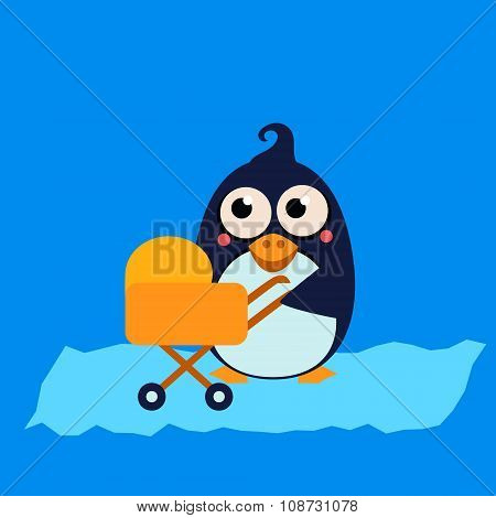Penguin Mom and Baby in Stroller. Vector Illustration