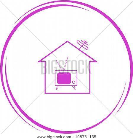home tv. Internet button. Raster icon.