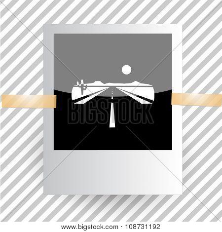 road. Photoframe. Raster icon.
