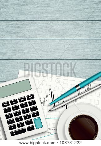 Workplace With Coffee, Calculator, Stationery And Place For Text