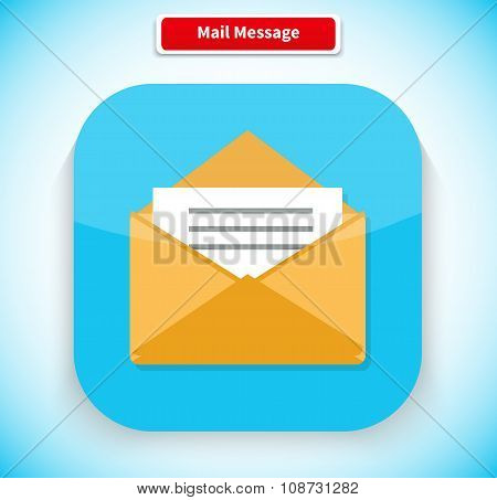 Mail Message App Icon Flat Style Design