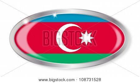 Azerbaijan Flag Oval Button