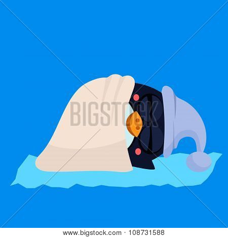 Cute Sleeping Penguin in a Hood. Vector Illustration