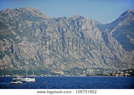 Yacht In The Bay Of Kotor