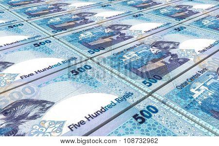 Qatar riyal bills stacks background. Computer generated 3D photo rendering.