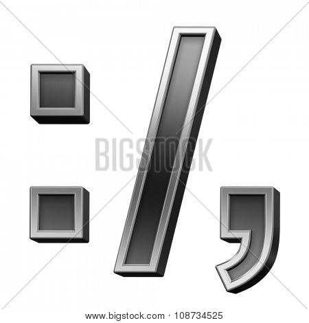 Colon, semicolon, period, comma from black with silver shiny frame alphabet set, isolated on white. Computer generated 3D photo rendering.